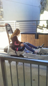 kendra riding roller coaster